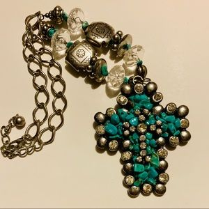 Jewelry - Silver & simulated Turquoise Cross Ladies necklace